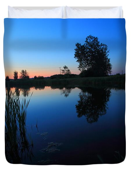 Morning Pond In Blue Duvet Cover by Jiayin Ma