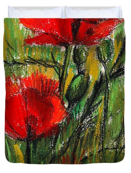 Morning Poppies Duvet Cover by Mona Edulesco
