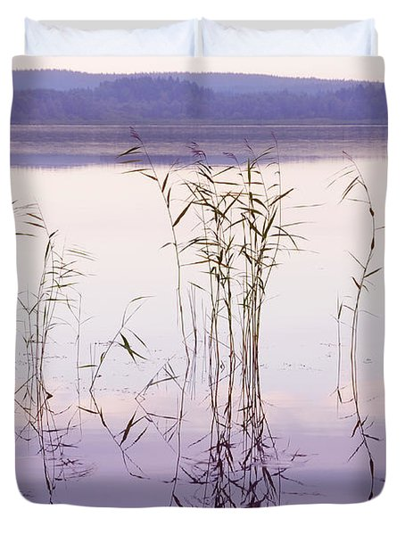 Morning Zen. Pearly Moments of Sunrise. Ladoga Lake. Northern Russia Duvet Cover by Jenny Rainbow