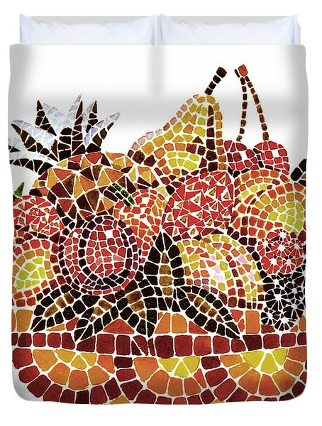 Mosaic Fruits Duvet Cover by Irina Sztukowski