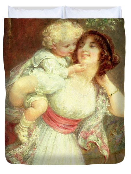 Mothers Darling Duvet Cover by Frederick Morgan