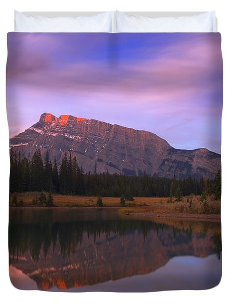 Mount Rundle And The Cascade Ponds In Duvet Cover by Carson Ganci