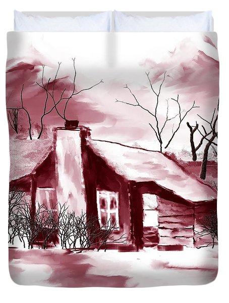 Mountain Cabin Duvet Cover by David Lane