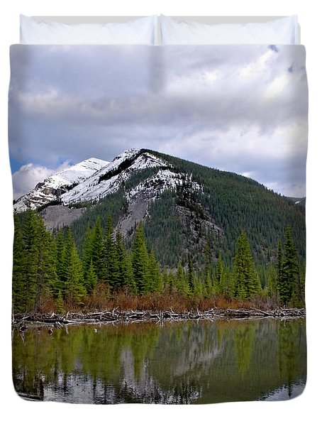 Mountain Pond Reflection Duvet Cover by Roderick Bley