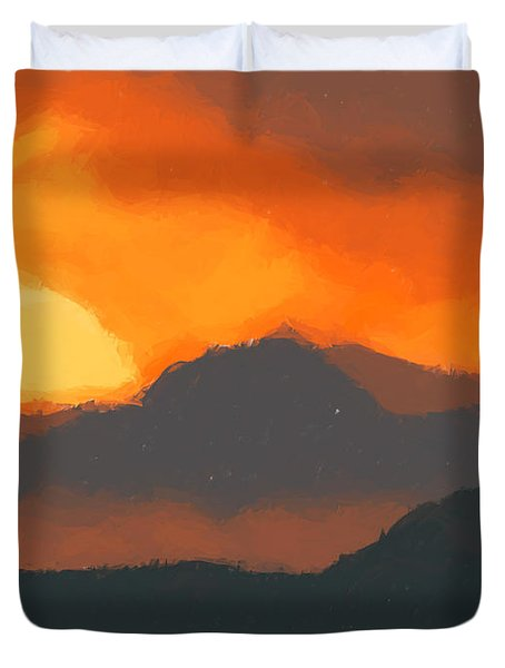 Mountain Sunset Duvet Cover by Pixel  Chimp