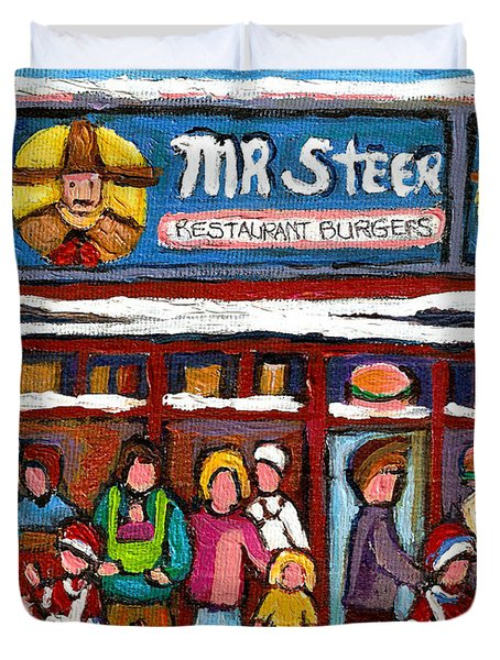 Mr Steer Restaurant Montreal Duvet Cover by Carole Spandau