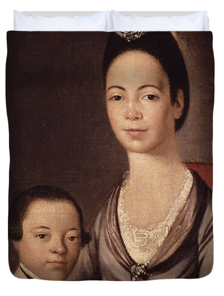 Mrs. Aaron Lopez And Her Son Joshua Duvet Cover by  Gilbert Stuart