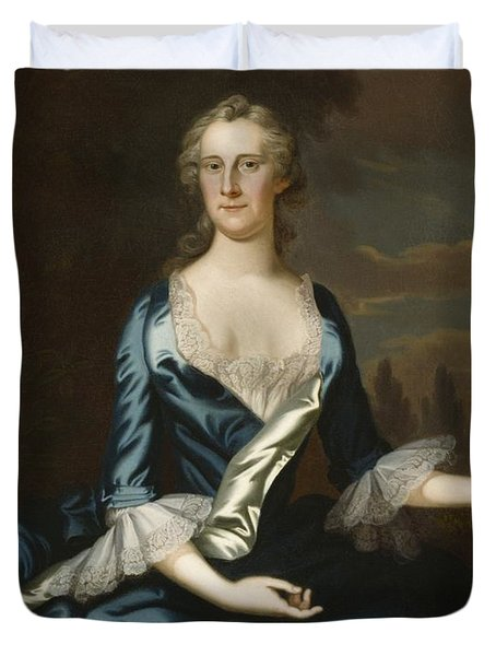 Mrs. Charles Carroll Of Annapolis Duvet Cover by John Wollaston