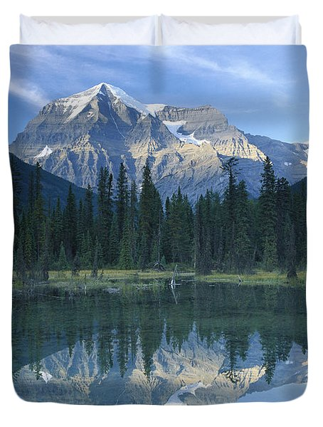 Mt Robson Highest Peak In The Canadian Duvet Cover by Tim Fitzharris