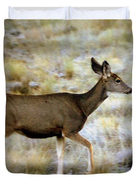 Mule Deer On The Move Duvet Cover by Marty Koch
