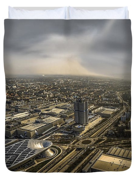 Munich From Above - Vintage Part Duvet Cover by Hannes Cmarits