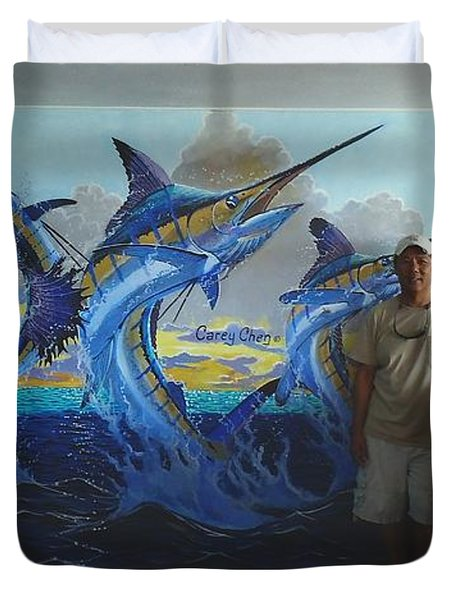 Mural In Bimini Duvet Cover by Carey Chen