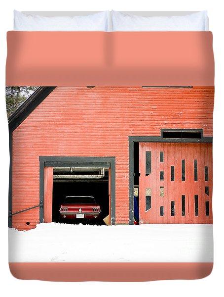 Mustang Car Barn Duvet Cover by Edward Fielding