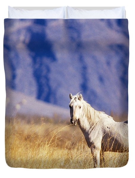 Mustang Duvet Cover by Mark Newman and Photo Researchers