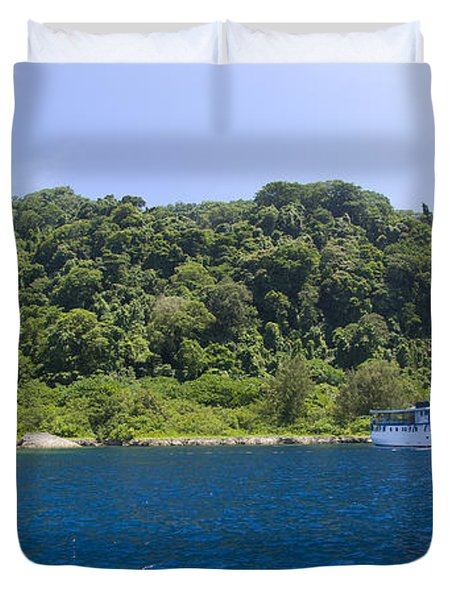 Mv Spirit Of Solomons Moored In Front Duvet Cover by Steve Jones