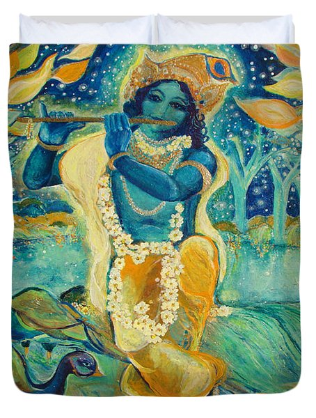 My Krishna is Blue Duvet Cover by Ashleigh Dyan Bayer