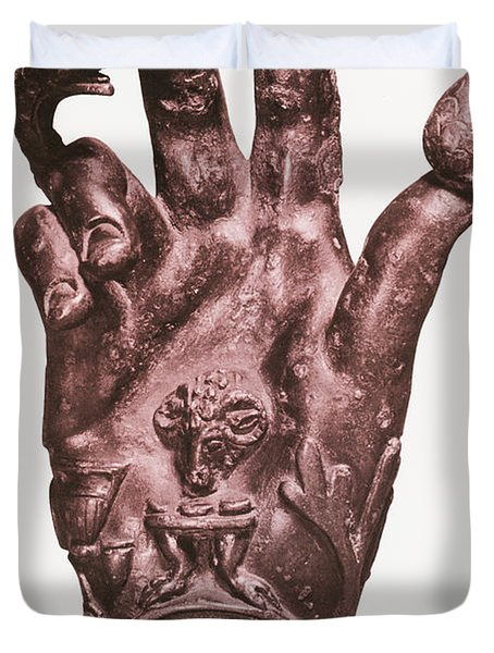 Mythological Hand Duvet Cover by Photo Researchers