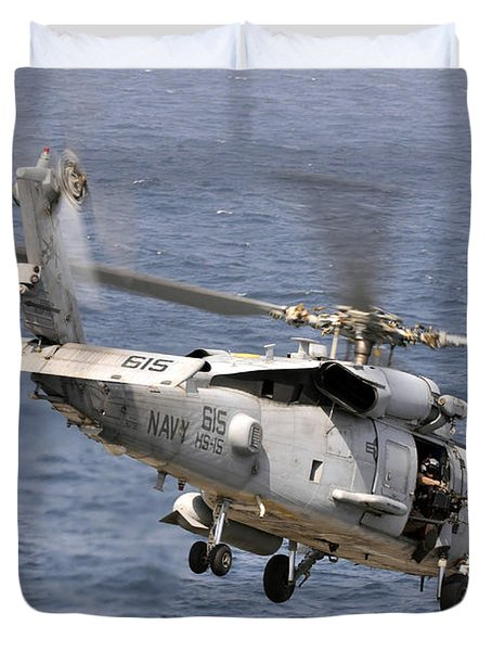 N Hh-60h Sea Hawk Helicopter In Flight Duvet Cover by Stocktrek Images