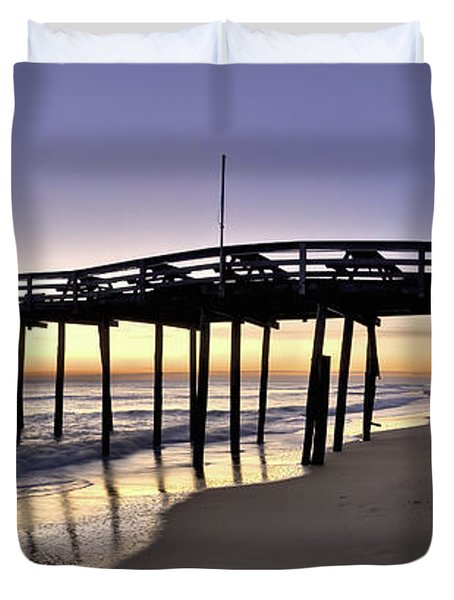 Nags Head Fishing Pier at Sunrise - Outer Banks Scenic Photography Duvet Cover by Rob Travis