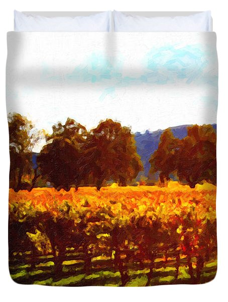 Napa Valley Vineyard in Autumn Colors 2 Duvet Cover by Wingsdomain Art and Photography