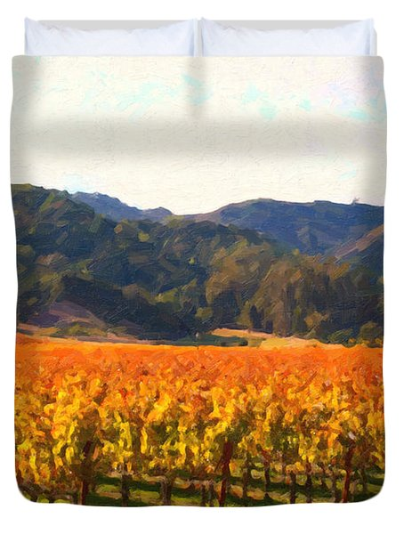 Napa Valley Vineyard in Autumn Colors Duvet Cover by Wingsdomain Art and Photography