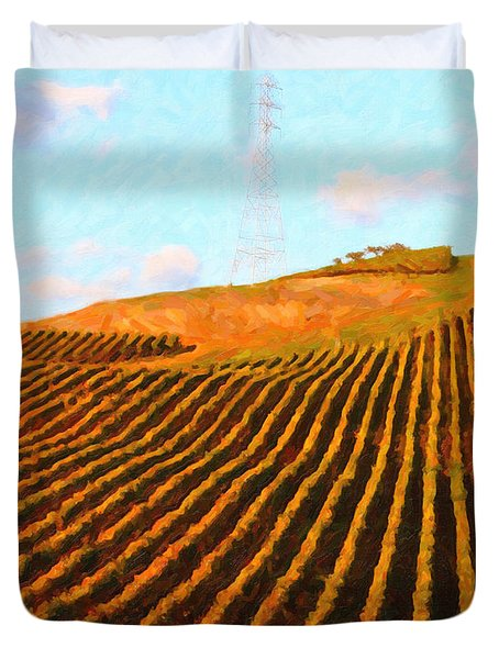 Napa Valley Vineyard . Portrait Cut Duvet Cover by Wingsdomain Art and Photography