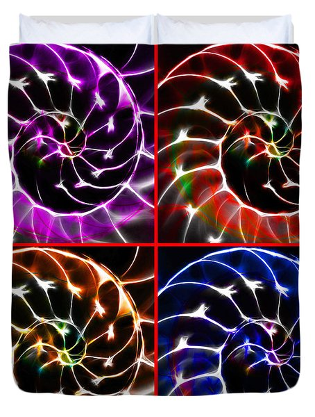 Nautilus Shell Ying And Yang - Electric - V1 - Four Squares Duvet Cover by Wingsdomain Art and Photography