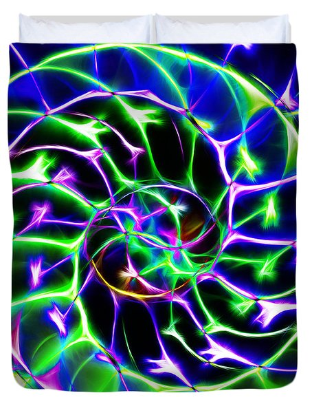 Nautilus Shell Ying and Yang - Electric - v2 - Blue-Green Duvet Cover by Wingsdomain Art and Photography