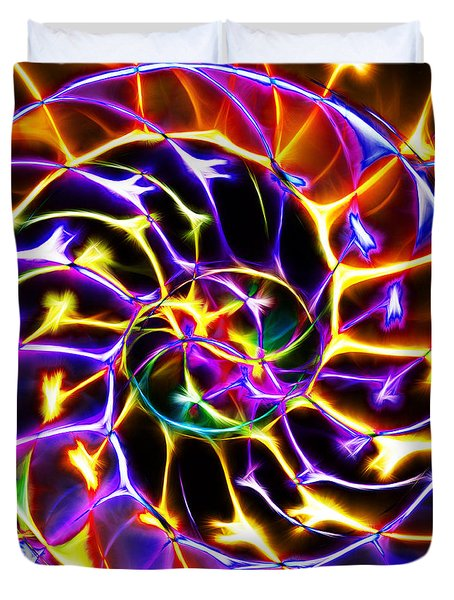 Nautilus Shell Ying and Yang - Electric - v2 - Yellow-Purple Duvet Cover by Wingsdomain Art and Photography
