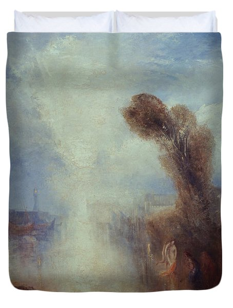Neapolitan Fisher-girls Surprised Bathing By Moonlight Duvet Cover by Joseph Mallord William Turner