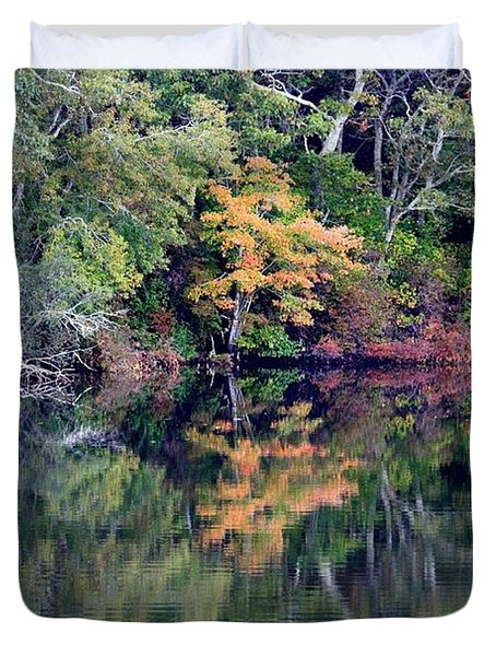 New England Fall Reflection Duvet Cover by Carol Groenen