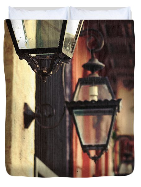 New Orleans Gas Lamps Duvet Cover by Jarrod Erbe