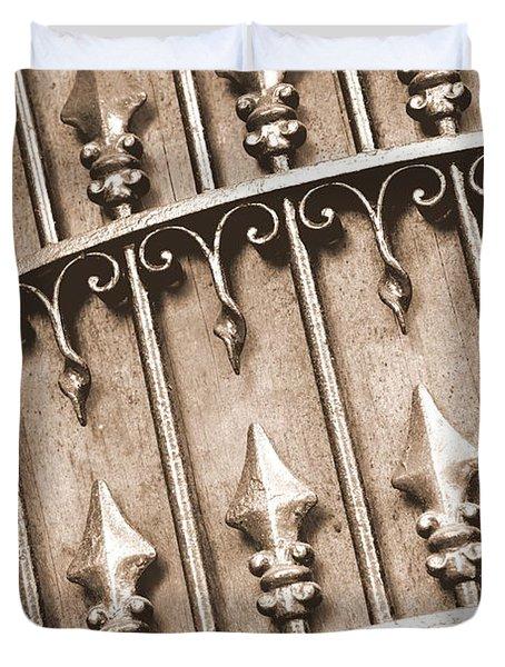 New Orleans Gate - Sepia Duvet Cover by Carol Groenen