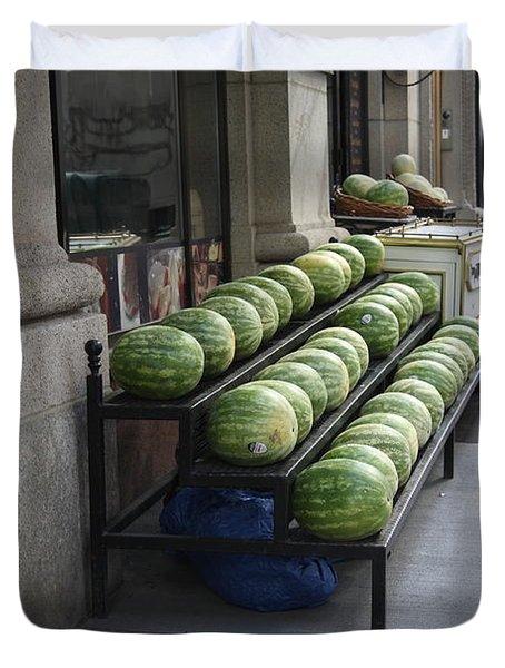 New York City Market Duvet Cover by Frank Romeo