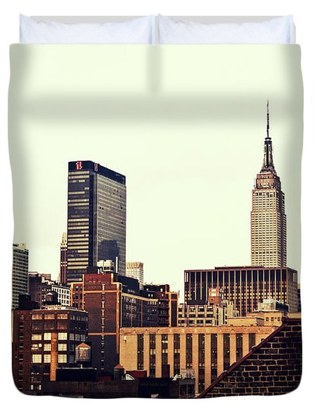 New York City Rooftops And The Empire State Building Duvet Cover by Vivienne Gucwa