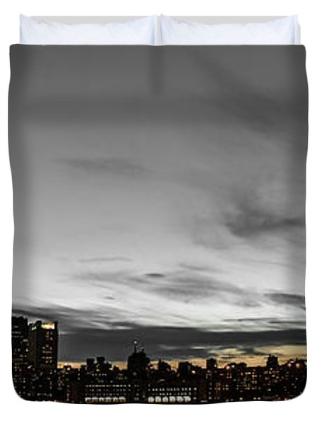 New Yorks Skyline At Night Colorkey Duvet Cover by Hannes Cmarits