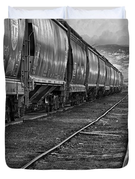 Next Tracks In Black And White Duvet Cover by James BO  Insogna