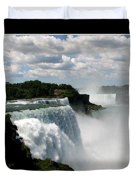 Niagara Falls American And Canadian Horseshoe Falls Duvet Cover by Rose Santuci-Sofranko
