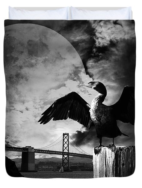 Night Of The Cormorant . Black And White Duvet Cover by Wingsdomain Art and Photography