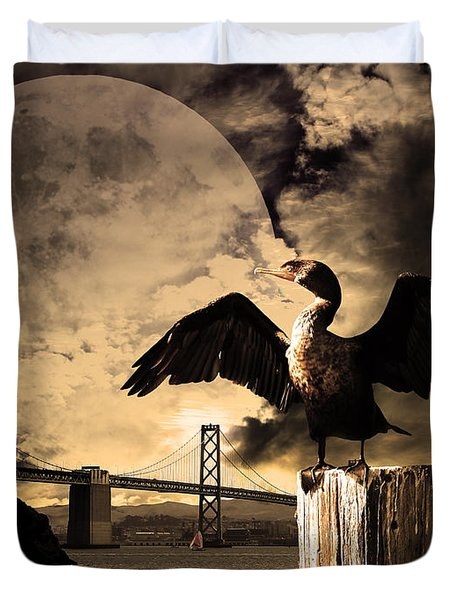 Night Of The Cormorant Duvet Cover by Wingsdomain Art and Photography