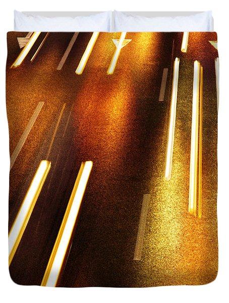 Night Traffic Duvet Cover by Carlos Caetano