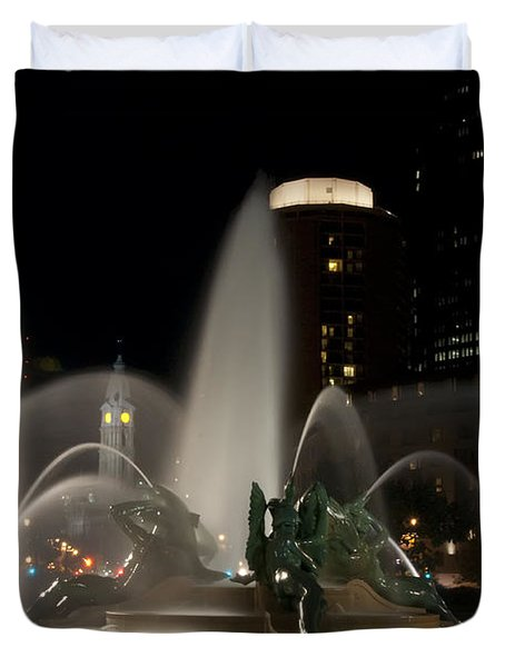 Night View of Swann Fountain Duvet Cover by Bill Cannon