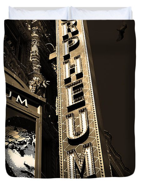 Nightfall at The Orpheum - San Francisco California - 5D17991 - Sepia Duvet Cover by Wingsdomain Art and Photography