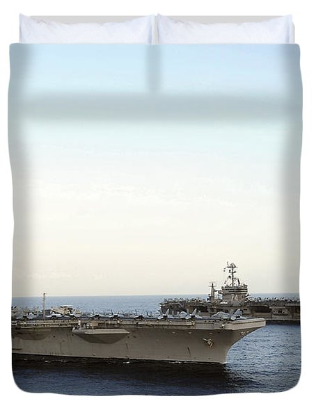 Nimitz-class Aircraft Carriers Transit Duvet Cover by Stocktrek Images