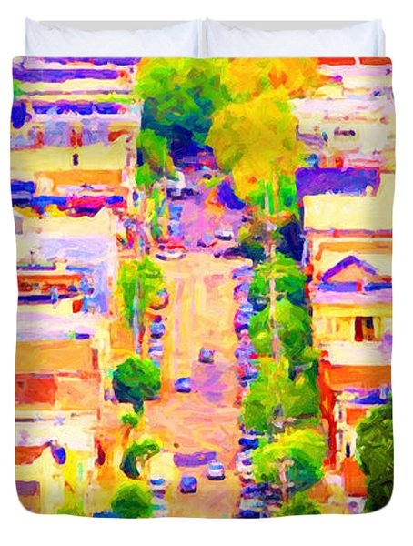Noe Street In San Francsico 2 . Long Cut Duvet Cover by Wingsdomain Art and Photography