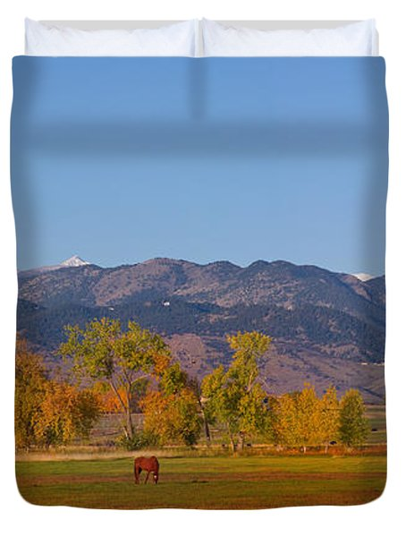 North Boulder County Colorado Front Range Panorama With Horses Duvet Cover by James BO  Insogna