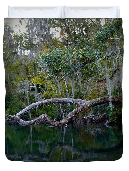 North Florida River Reflections Duvet Cover by Carla Parris