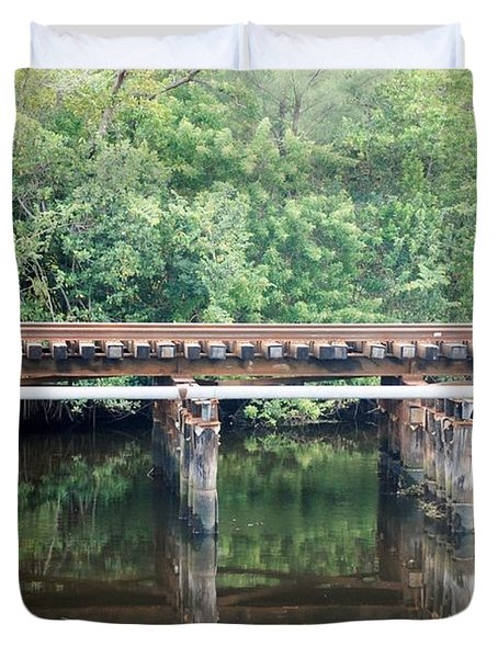 North Fork River Bridge Duvet Cover by Rob Hans