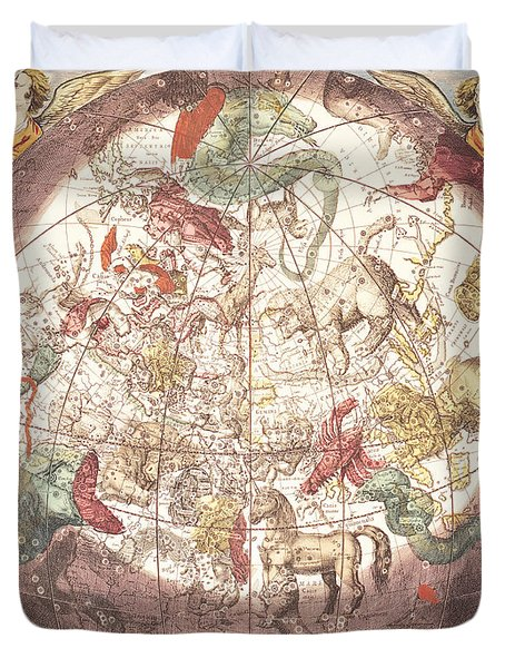 Northern Boreal Hemisphere From The Celestial Atlas Duvet Cover by Pieter Schenk