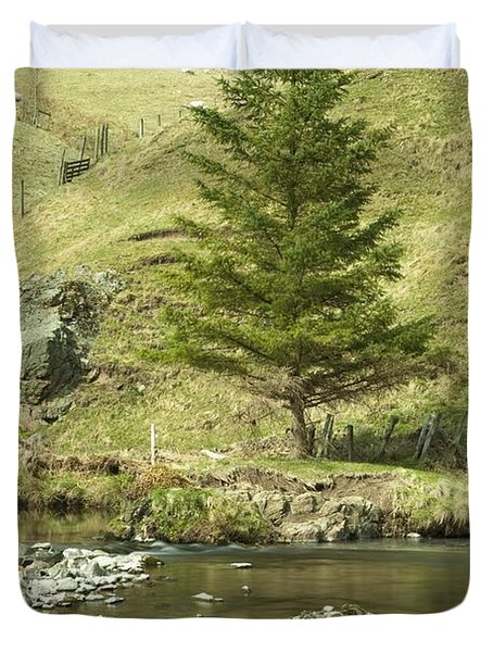 Northumberland, England A River Flowing Duvet Cover by John Short